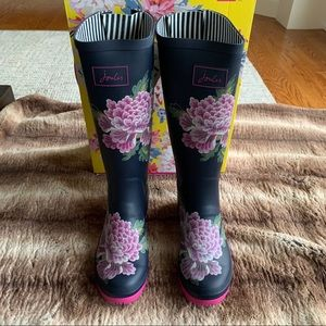 Joules Tall Wellies Navy Floral Rain Boots